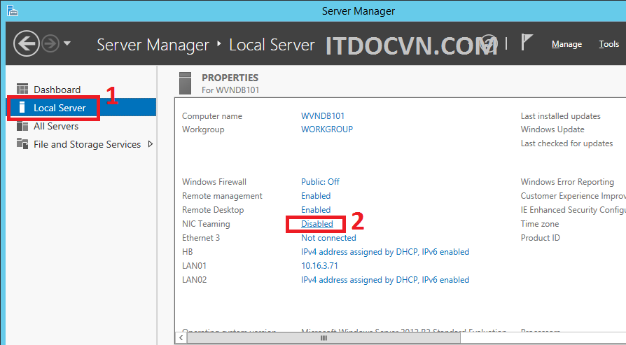 NIC Teaming Windows Server 2012-2