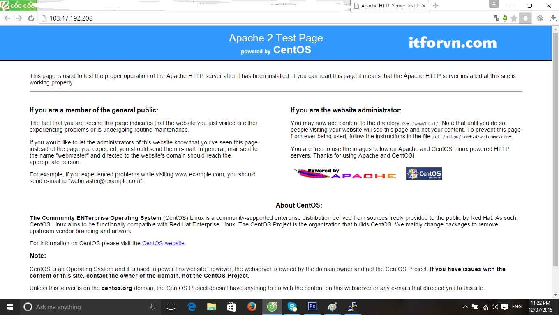 ITFORVN.COM thong-bao-apache-thanh-cong Cài đặt webserver trên centos 6.x