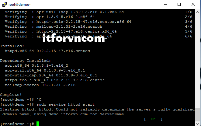 ITFORVN.COM thong-bao-mo-apache-thanh-cong Cài đặt webserver trên centos 6.x