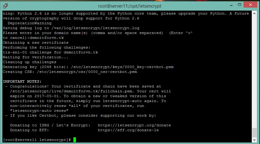 thong bao - Cài đặt ssl (chỉ bảo mật) Let's Encryp trên server centos 6.x