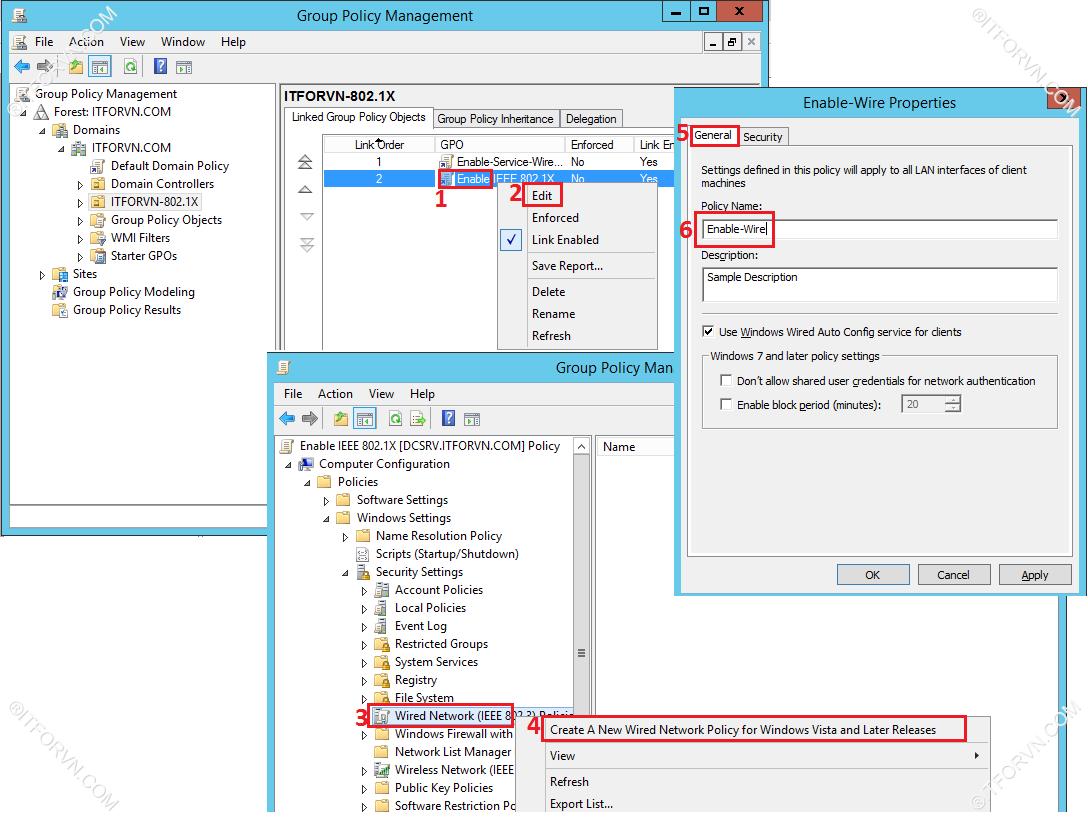 ITFORVN.COM Dynamic-Vlan-Test-6 Cấu hình dynamic vlan - part 4 test tại end user + triển khai policy cho 802.1x wire
