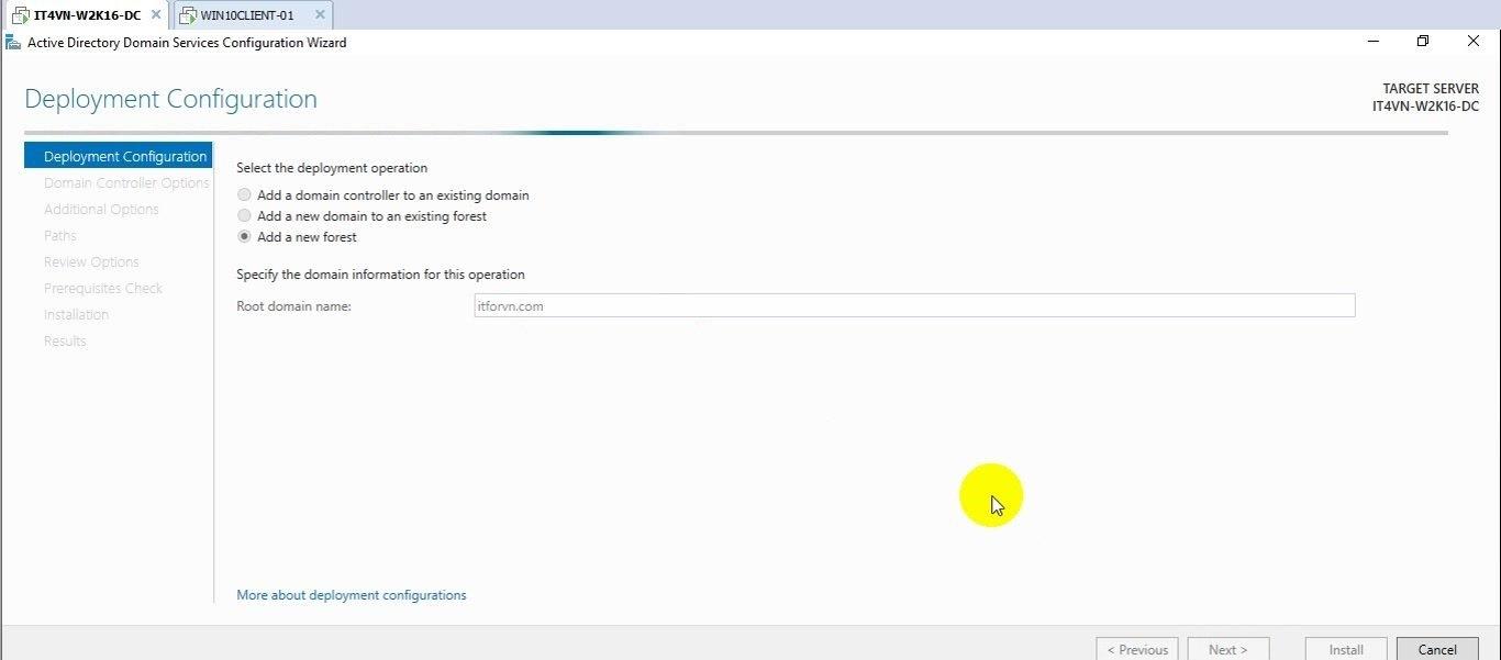 ITFORVN Bài 2 Nâng cấp lên Domain Controller và join domain 15 e1491863105737 - [Tự học MCSA MCSE 2016] - Lab 2 Nâng cấp server lên Domain Controller và join domain