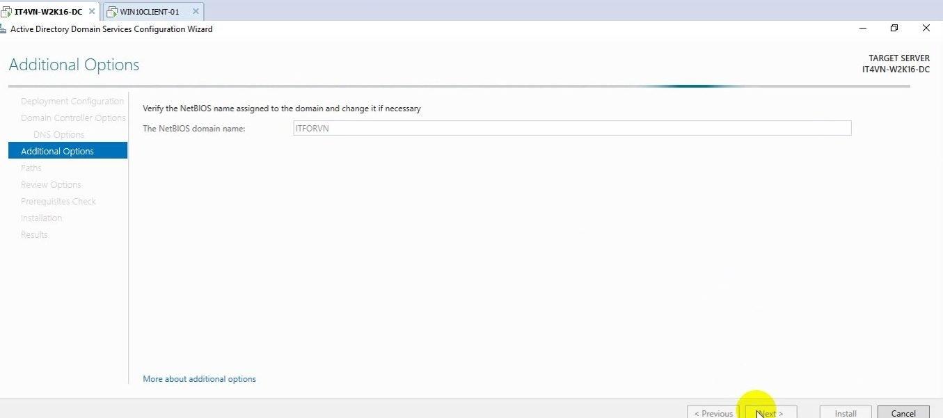 ITFORVN Bài 2 Nâng cấp lên Domain Controller và join domain 20 e1491863878701 - [Tự học MCSA MCSE 2016] - Lab 2 Nâng cấp server lên Domain Controller và join domain