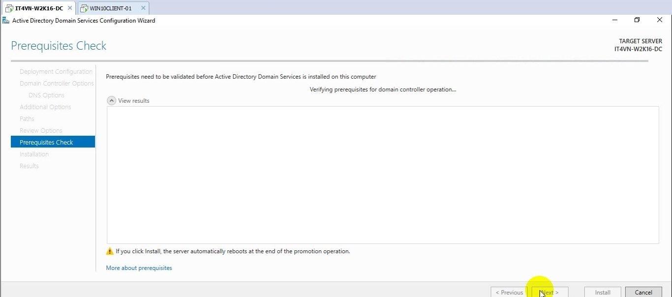 ITFORVN Bài 2 Nâng cấp lên Domain Controller và join domain 21 e1491863929718 - [Tự học MCSA MCSE 2016] - Lab 2 Nâng cấp server lên Domain Controller và join domain