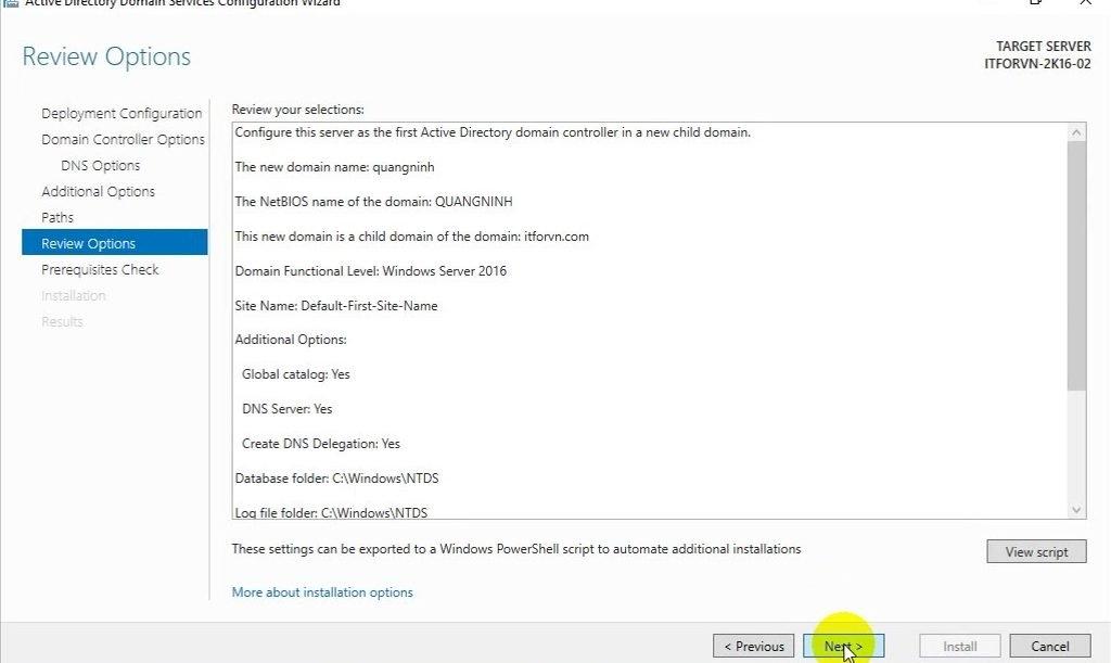 ITFORVN Bài 6 Cấu hình Child Domain 1291 e1492364320104 - [Tự học MCSA MCSE 2016] -Lab 6- Cấu hình Child Domain trên Windows server 2016