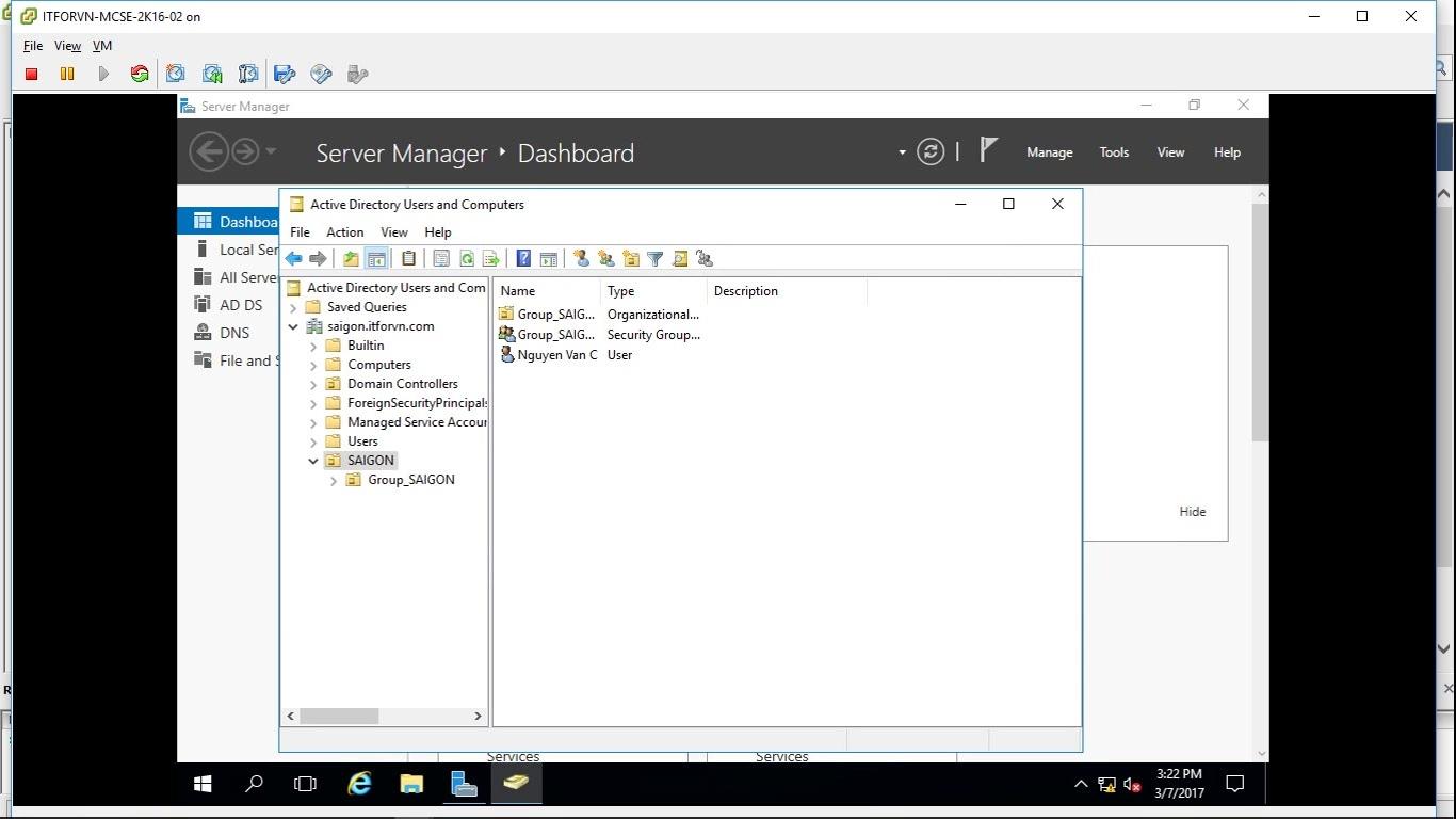 ITFORVN Bài 6 Cấu hình Child Domain 2209 - [Tự học MCSA MCSE 2016] -Lab 6- Cấu hình Child Domain trên Windows server 2016