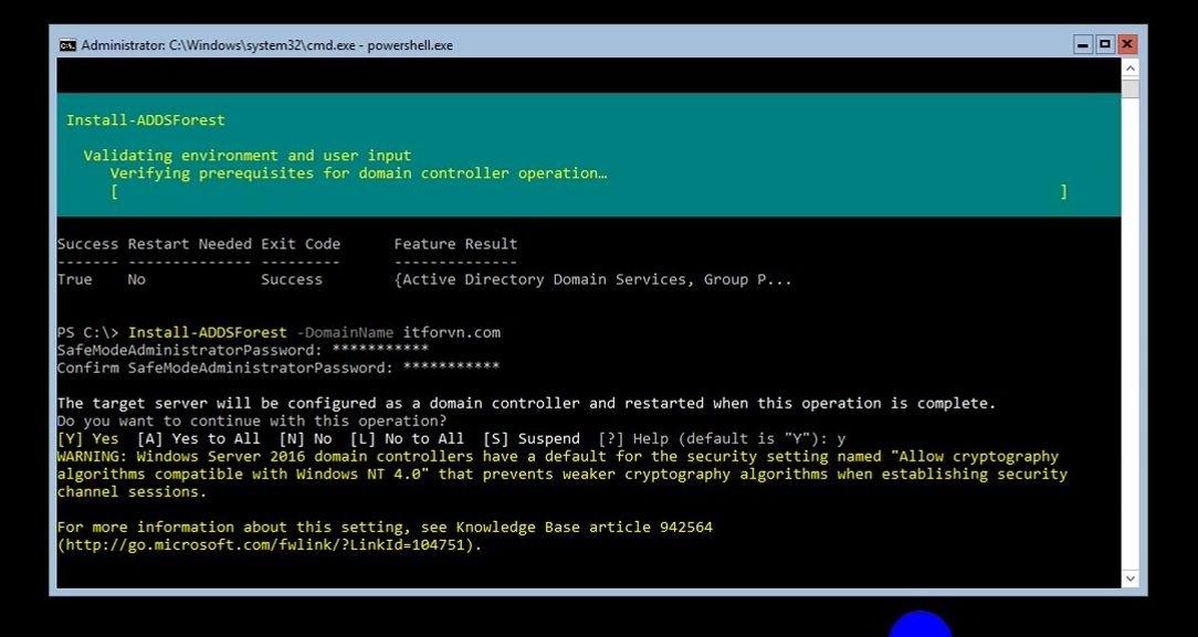 ITFORVN Bài 8 Part 1 Nâng cấp Windows Server Core lên Domain Controller Join Domain 0784 e1492776022668 - [Tự học MCSA MCSE 2016]-Lab 8- Part1-Nâng cấp Windows Server Core 2016 lên Domain Controller và join domain