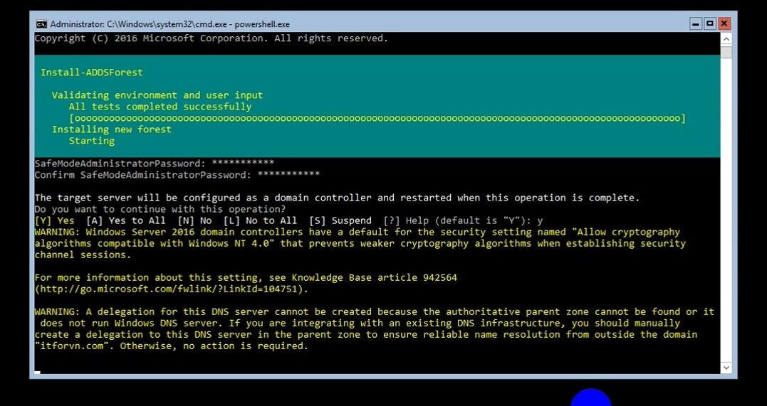 ITFORVN Bài 8 Part 1 Nâng cấp Windows Server Core lên Domain Controller Join Domain 0786 e1492776176460 - [Tự học MCSA MCSE 2016]-Lab 8- Part1-Nâng cấp Windows Server Core 2016 lên Domain Controller và join domain