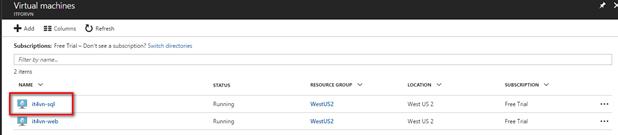 ITFORVN.COM 1-34 Cấu hình IIS frontend và SQL backend với Azure Resource Manager