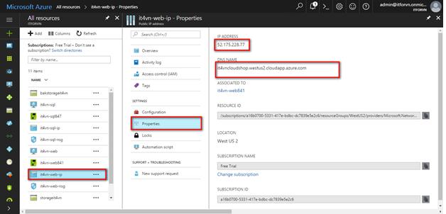 ITFORVN.COM 1-63 Cấu hình IIS frontend và SQL backend với Azure Resource Manager