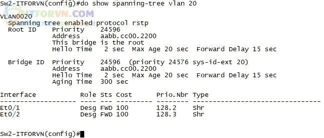ITFORVN.COM H10.-Show-STP-VLAN-20 Tự Học CCNA-Lab 5 Cấu hình STP