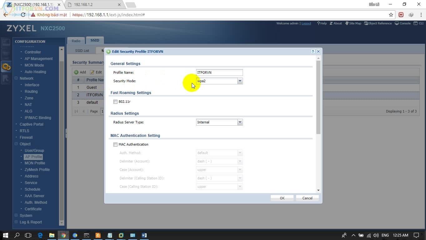 ITFORVN.COM H4.-Edit-Security-Profile-SSID Cấu hình Wireless Controller Zyxel  Phần 3
