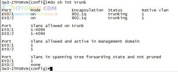 ITFORVN.COM H4.-Show-interface-trunk-trên-SW3 Tự Học CCNA-Lab 5 Cấu hình STP
