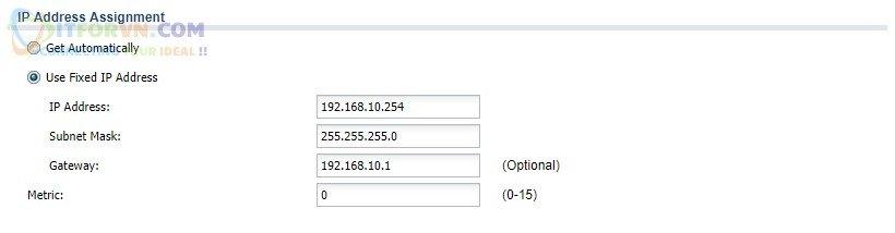 Set IP tĩnh cho VLAN