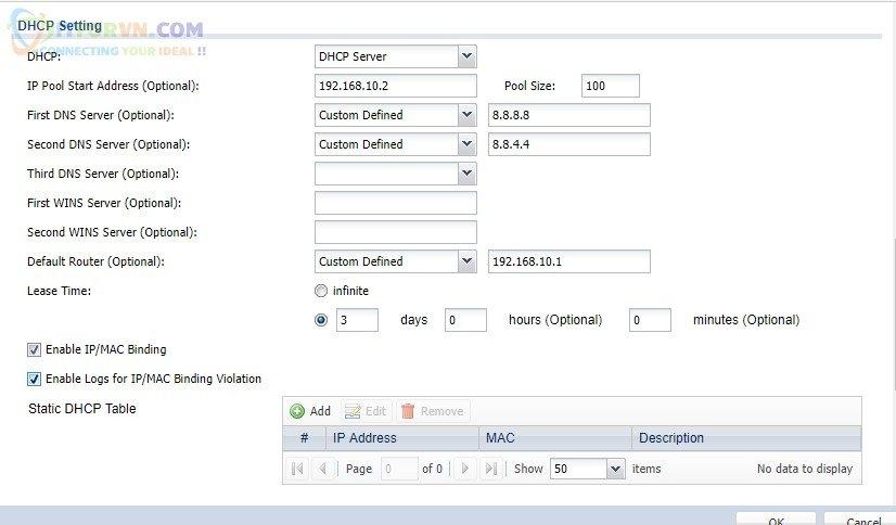 Thiết lập cho AP cấp phát DHCP