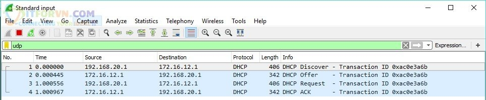 Capture 4 packet DHCP Server - DHCP Relay