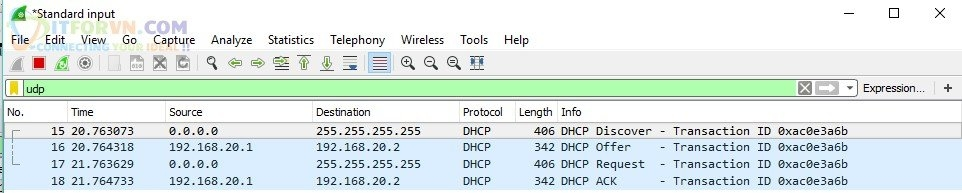 Capture 4 packet DHCP Clients - DHCP Relay