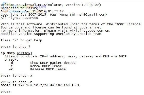 Client của LAN 10 nhận được IP từ DHCP