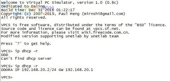 Client của LAN 20 nhận được IP từ DHCP
