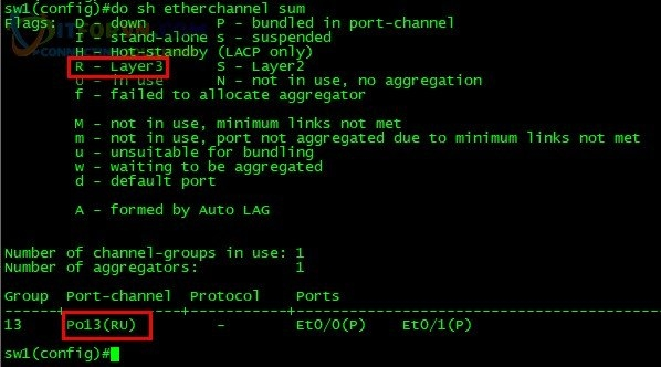 ITFORVN.COM H12.-Show-Etherchannel-sum-layer3-Sw1 Tự Học CCNA Lab 7: Cấu hình Etherchannel Tự học ccnax tu hoc ccna PAgP mode on Layer3 Etherchannel lacp lab etherchannel lab ccna IEEE 802.3ad etherchannel 802.3ad