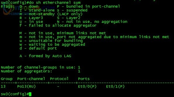 ITFORVN.COM H14.-Show-Etherchannel-sum-layer3-Sw3 Tự Học CCNA Lab 7: Cấu hình Etherchannel Tự học ccnax tu hoc ccna PAgP mode on Layer3 Etherchannel lacp lab etherchannel lab ccna IEEE 802.3ad etherchannel 802.3ad