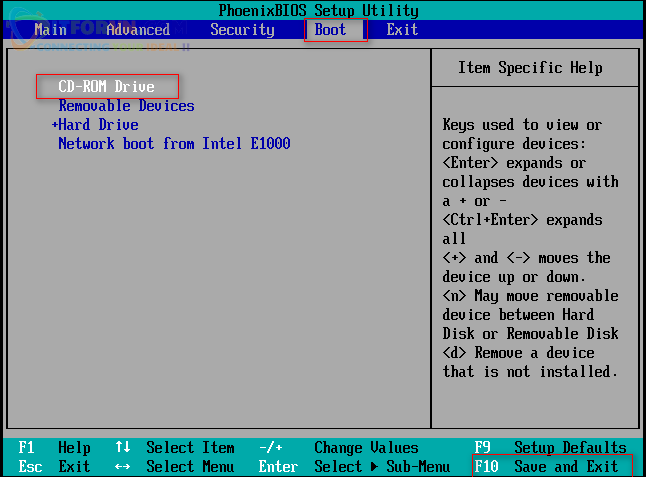 H20. Chọn Boot từ CD-ROM