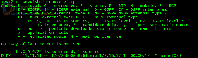 H4. Show ip route eigrp trên Test2