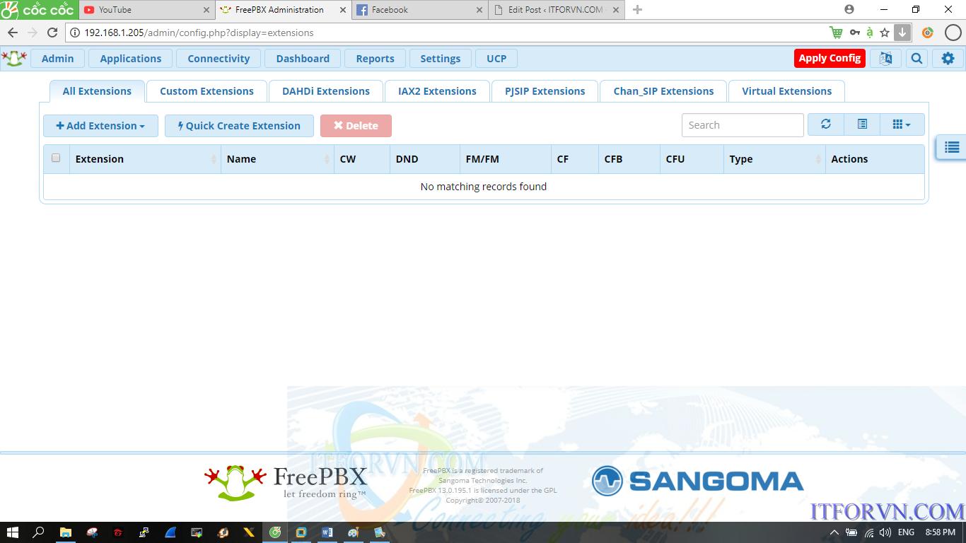Tạo 2 extension trên FreePBX và gọi cho nhau - ITFORVN COM