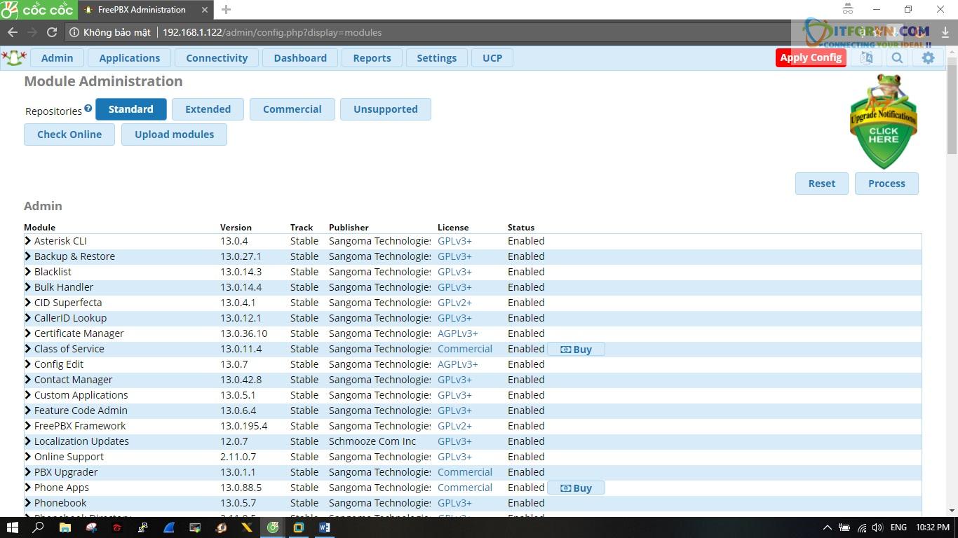 ITFORVN.COM New0162 Hướng dẫn cài đặt tổng đài FreePBX