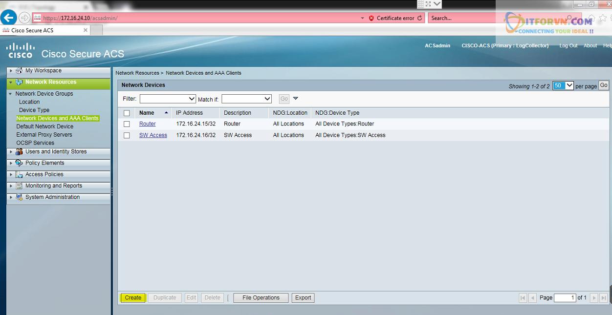 New0199 - Hướng dẫn cấu hình xác thực giữa Cisco ACS với thiết bị router, switch