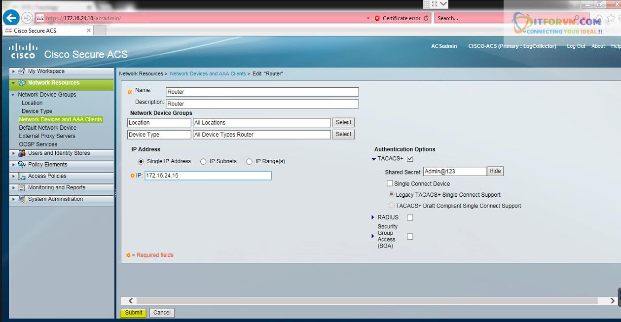 New0200 - Hướng dẫn cấu hình xác thực giữa Cisco ACS với thiết bị router, switch