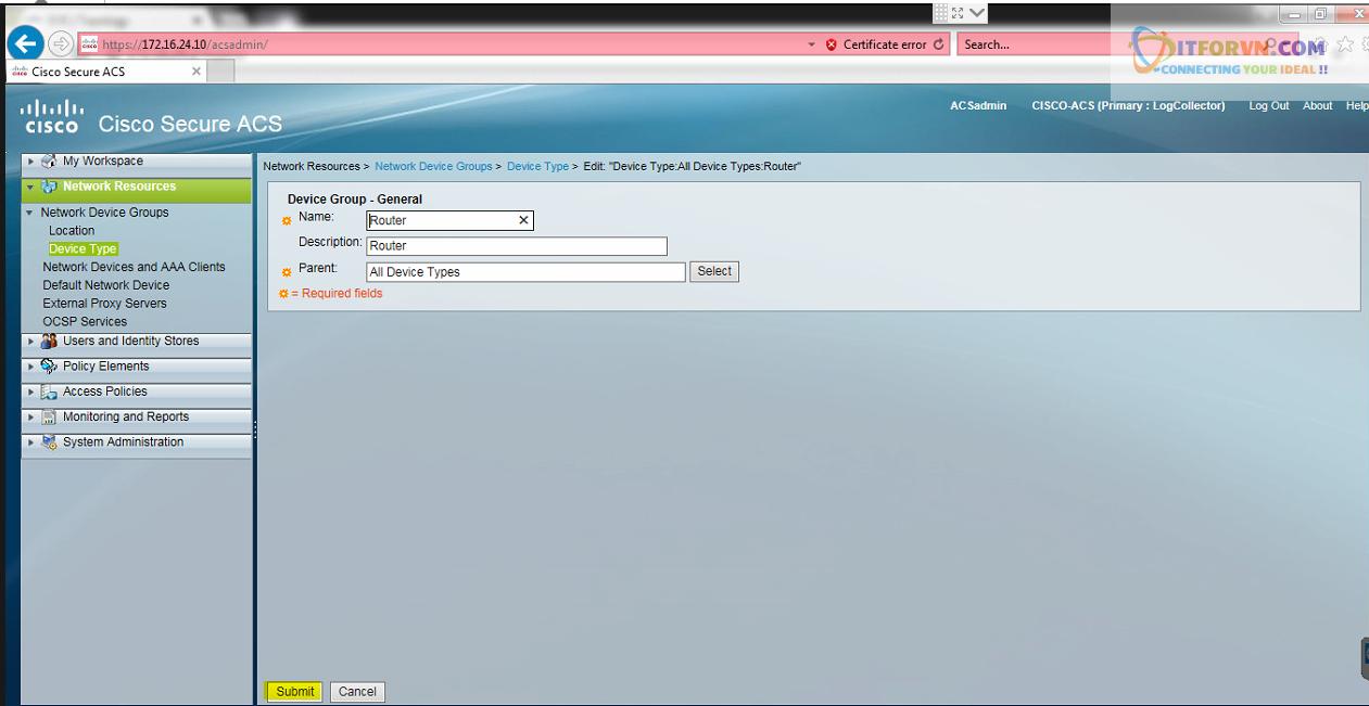 New0201 - Hướng dẫn cấu hình xác thực giữa Cisco ACS với thiết bị router, switch