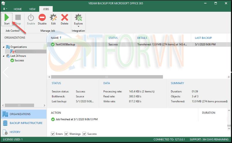 13.Running your Office 365 backup job - Veeam Backup for Office 365 v4