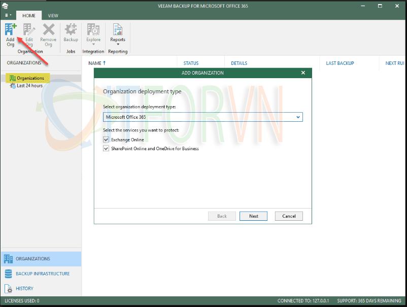 2.Beginning the add organization wizard - Veeam Backup for Office 365 v4