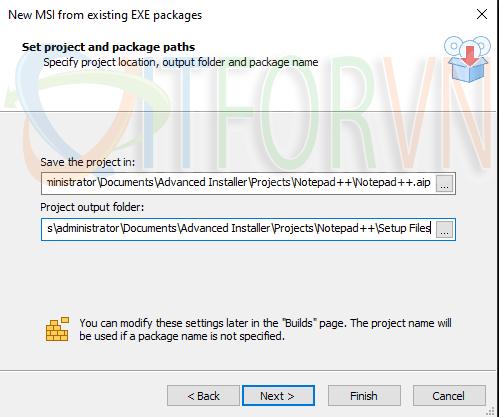 4.Choose the project and output folder - Advanced Installer: Đóng gói ứng dụng cho IT pros và developers