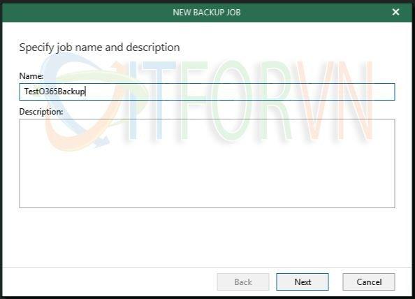 7.Specify the Office 365 job name - Veeam Backup for Office 365 v4