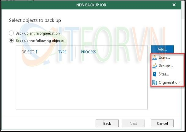 9.Choosing specific Office 365 objects to back up - Veeam Backup for Office 365 v4