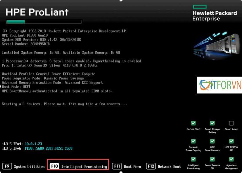 ITFORVN.COM HP380gen10_1-1 Hướng dẫn cấu hình Raid máy chủ HP DL380 Gen10