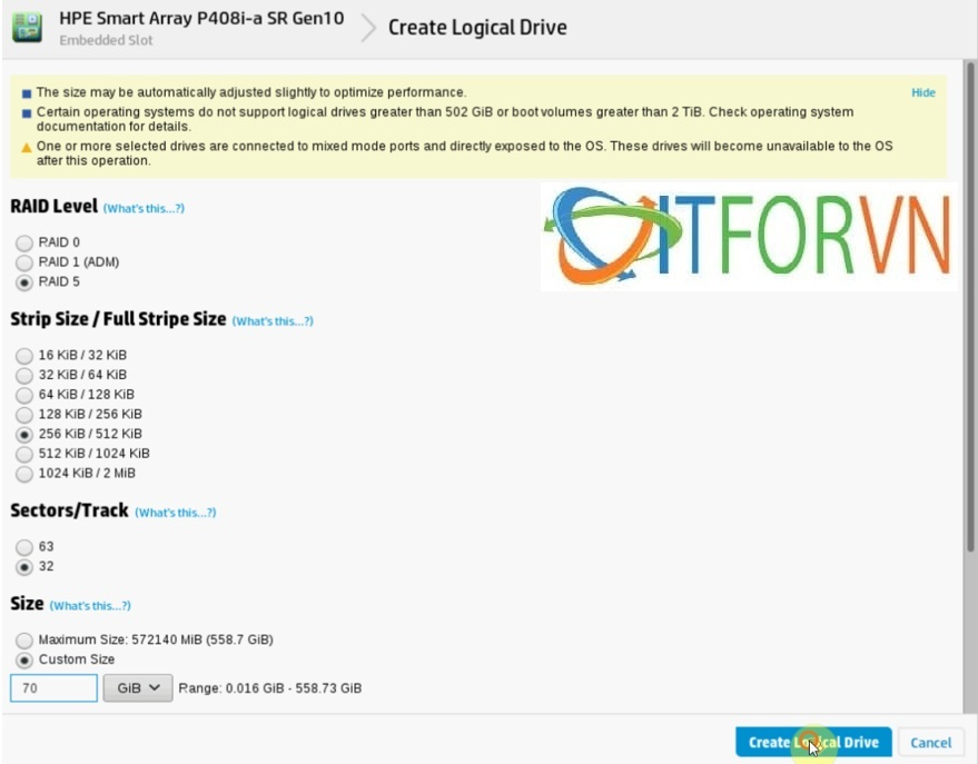 ITFORVN.COM Raid_HPEDL380Gen10_pic7 Hướng dẫn cấu hình Raid máy chủ HP DL380 Gen10