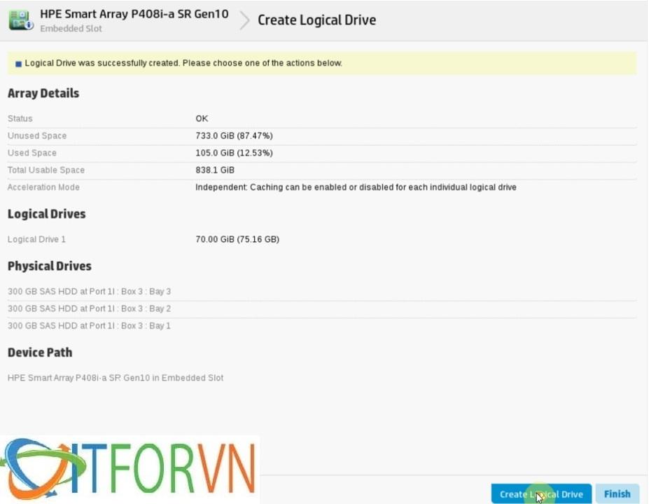 ITFORVN.COM Raid_HPEDL380Gen10_pic8 Hướng dẫn cấu hình Raid máy chủ HP DL380 Gen10