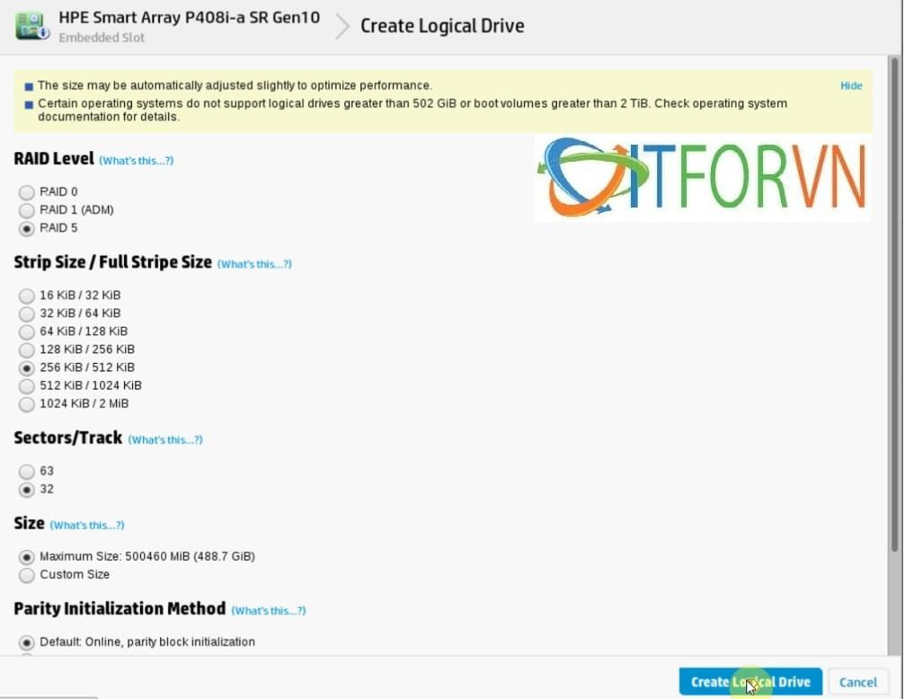 ITFORVN.COM Raid_HPEDL380Gen10_pic9 Hướng dẫn cấu hình Raid máy chủ HP DL380 Gen10
