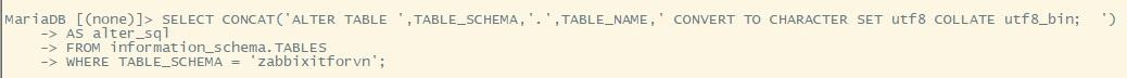 Zabbix 9.4 - Zabbix monitoring network 9: Convert character Zabbix Database